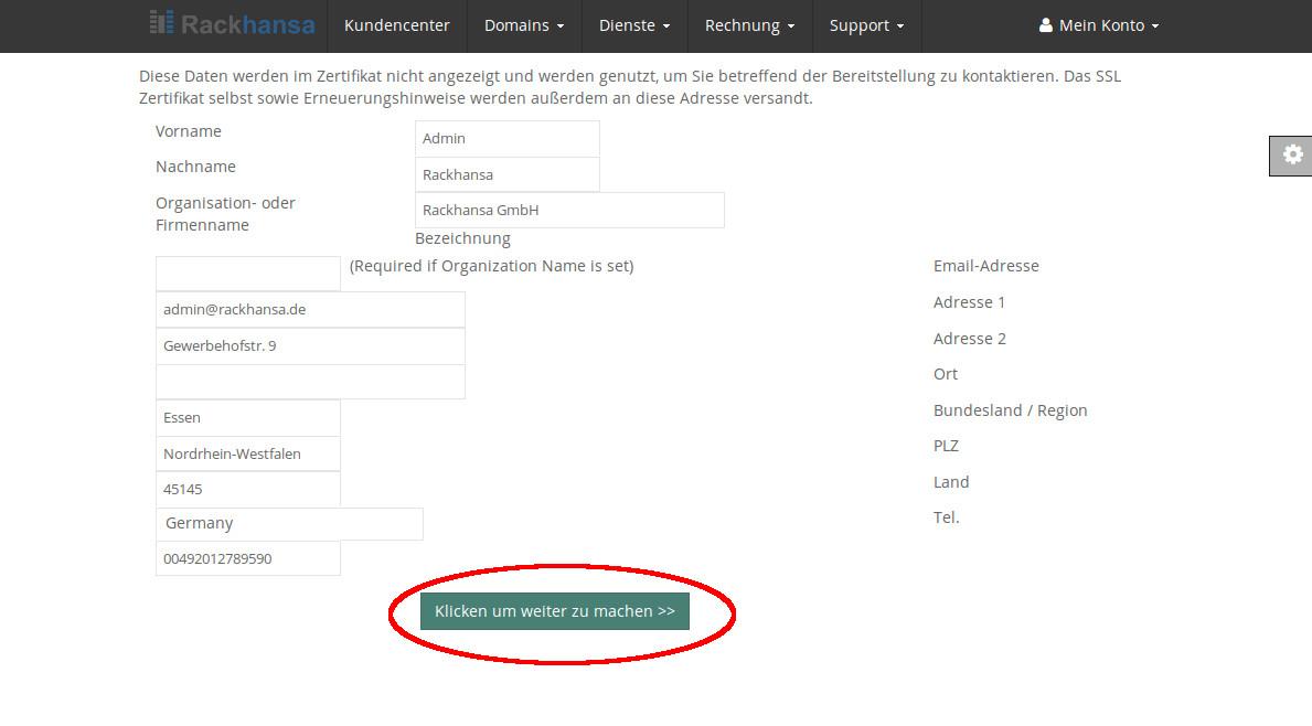 SSL Zertifikat konfigurieren - Rackhansa